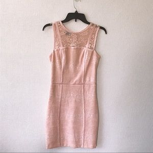 Bebe Pink Lace Fitted Dress- Size 4